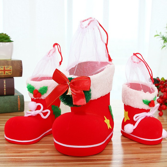 Hot Selling Style Christmas Creative Candy Flocking Boots