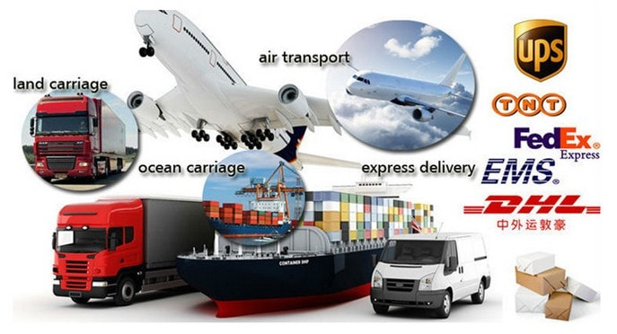 shipping by air transport, ocean, express