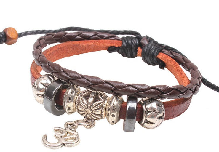 Alloy Small Leather Snake Grain Woven Bracelet Jewelry for man